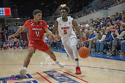 SMU Mustangs guard Emmanuel Bandoumel (5) drives to the baseline while being guarded by Hartford Hawks forward PJ Henry (11) during an NCAA college basketball game, Wednesday, Nov. 27, 2019, in Dallas.SMU defeated Hartford 90-58. (Wayne Gooden/Image of Sport)