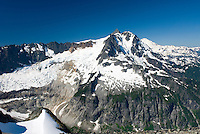 NE face of Mount Shuksan (9131 feet, 2783 meters) with view of the Nooksack Cirque seen from summit of Ruth Mountain, North Cascades Washington