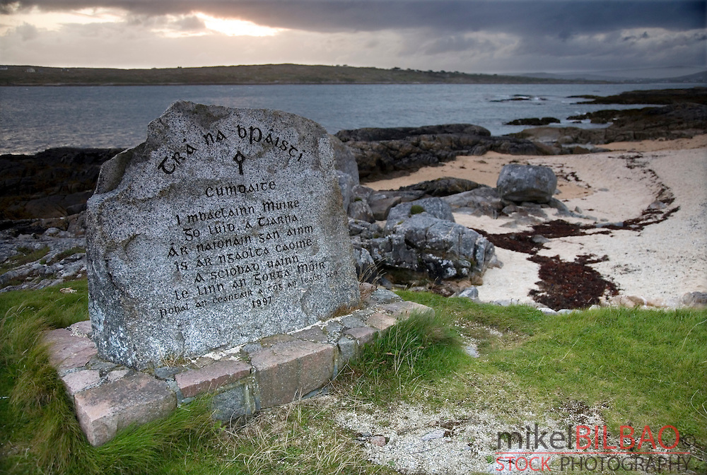 Stone with gaelic inscription. Coral Beach. Carraroe.<br /> County Galway.  Republic of Ireland.
