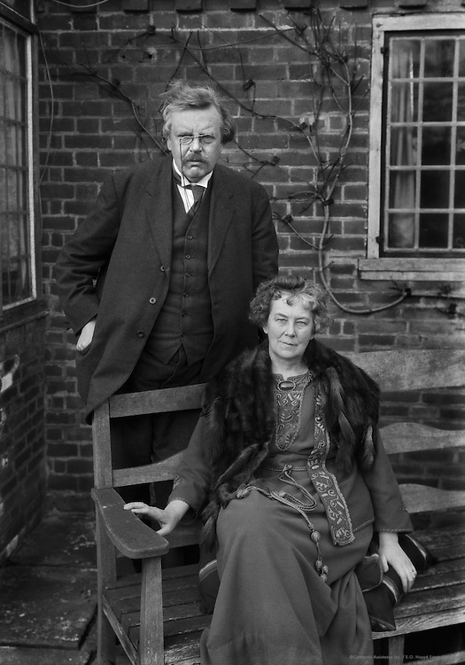 G.K. Chesterton, English Author and Journalist, With His Wife, Frances Blogg, 1925