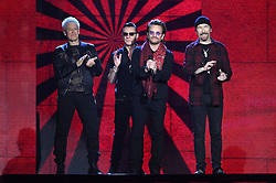 U2 on stage during the MTV Europe Music Awards 2017 held at The SSE Arena, London. Photo credit should read: Doug Peters/EMPICS Entertainment