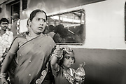 In hurry to catch the train in India.