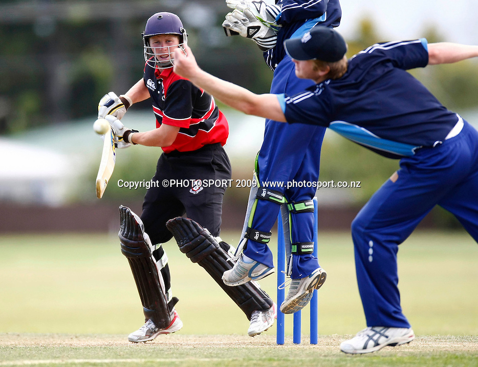 Canterbury batsman Henry Nicholls edges past slip. U19 National Final, Canterbury v Auckland, Te Atatu Park, Auckland. Monday 21 December 2009. Photo: Simon Watts/PHOTOSPORT