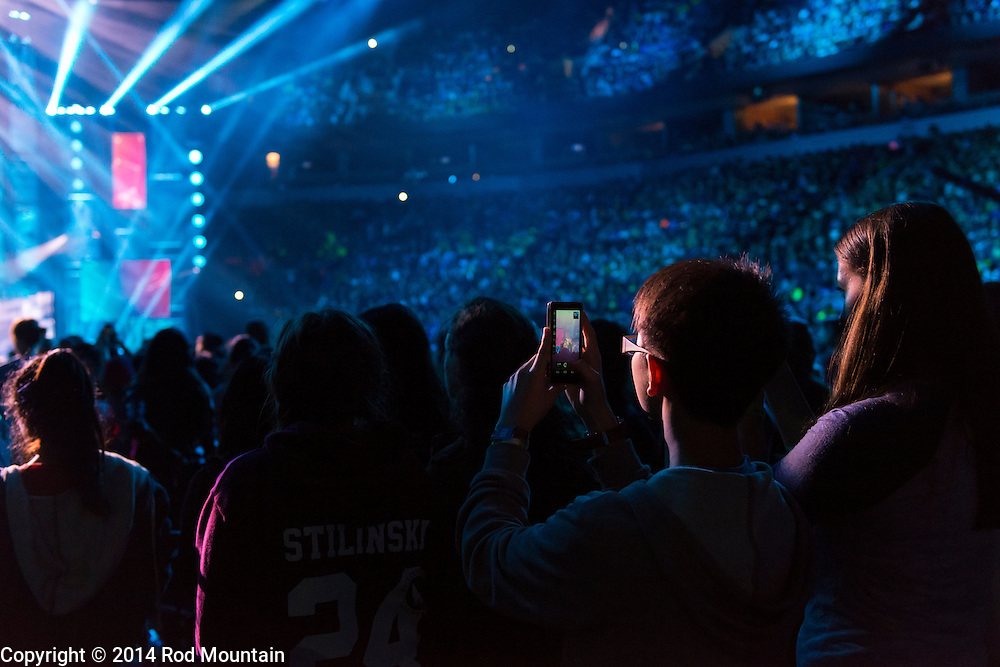 Vancouver, BC, Canada - October 22, 2014 - Scene as captured at Rogers Arena during We Day Vancouver 2014. <br /> <br /> We Day is about youth coming together to make a difference. We Day, Free The Children, Me to We and We Act make up the global platform for social change that began with brothers Craig and Marc Kielburger. <br /> <br /> Photo: &copy; 2014 Rod Mountain