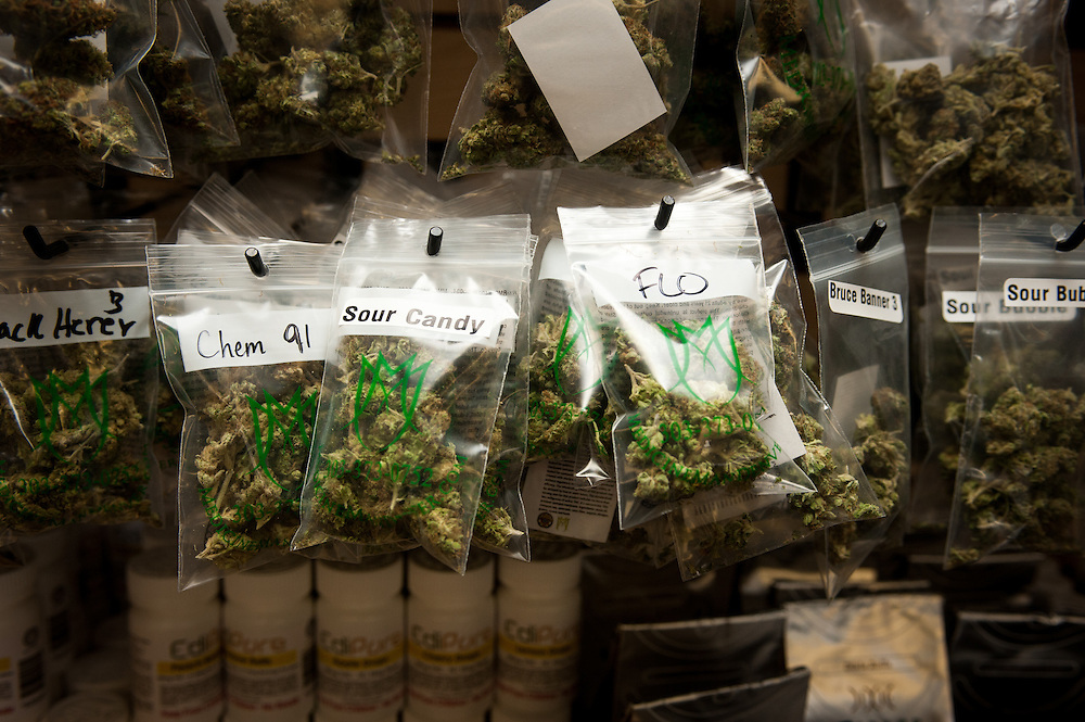 Bagged marijuana for sale behind the recreational counter at Medicine Man.