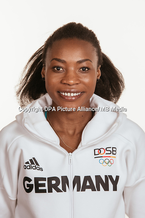 Sosthene Moguenara poses at a photocall during the preparations for the Olympic Games in Rio at the Emmich Cambrai Barracks in Hanover, Germany, taken on 15/07/16 | usage worldwide