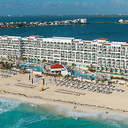 Aerial view of the Hyatt Zilara hotel. Cancun, Mexico.