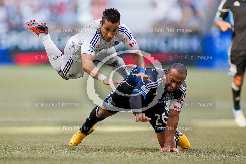 10 August 2013:   Action during a game between Vancouver Whitecaps FC and San Jose Earthquakes on Bell Pitch at BC Place Stadium in Vancouver, BC, Canada. Final Score: Vancouver 2 - San jose 0 - ****(Photo by Bob Frid - Vancouver Whitecaps 2013 - All Rights Reserved)***