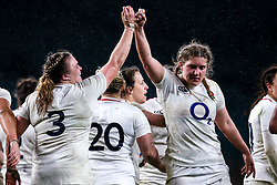 Sarah Bern of England Women celebrates with teammate Poppy Cleall after scoring a try - Mandatory by-line: Robbie Stephenson/JMP - 16/03/2019 - RUGBY - Twickenham Stadium - London, England - England Women v Scotland Women - Women's Six Nations