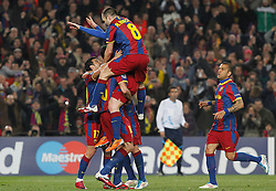 FC Barcelona's Leo Messi, Sergio Busquets, Pedro Rodriguez, Andres Iniesta and Daniel Alves celebrate goal during UEFA Champions League match.March 8,2011.
