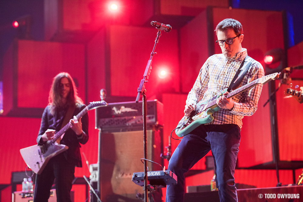 Weezer performing at the iHeartRadio Music Festival in Las Vegas, Nevada on Sepembter 20, 2014.