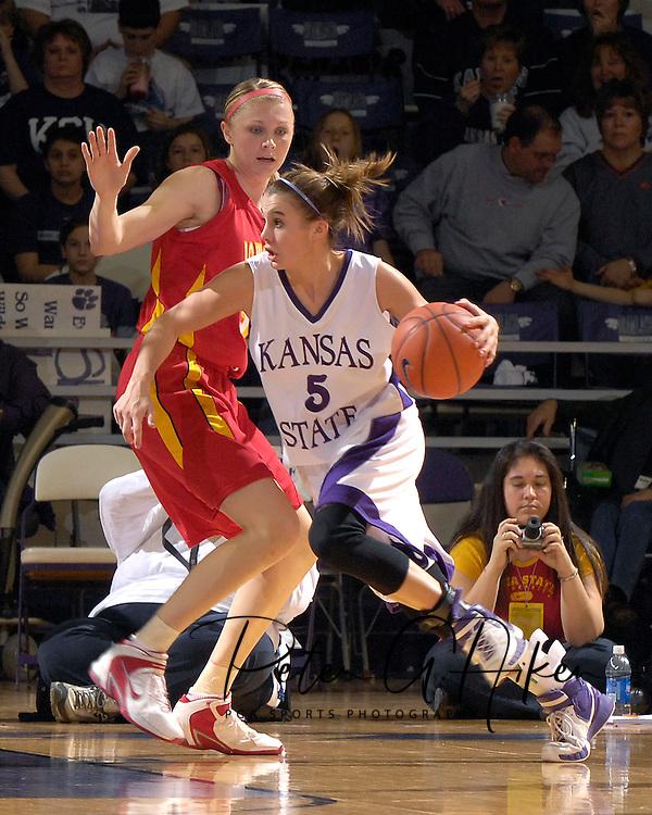 Kansas State guard Shalee Lehning (5) drives around Iowa State's Megan Ronhovde (L), during first half action at Bramlage Coliseum in Manhattan, Kansas, February 24, 2007.  Iowa State defeated Kansas State 64-61.