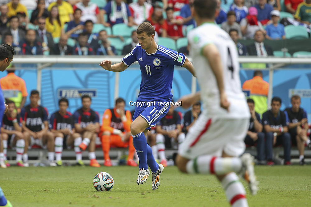 25.06.2014. Salvador, Brazil.  Edin DZEKO drives forward into the Iranian box, during a Group F match between Bosnia And Herzegovina and Iran of 2014 FIFA World Cup at the Arena Fonte Nova Stadium in Salvador, Brazil, June 24, 2014.