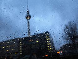 GERMANY BERLIN 5JAN14 - Alexanderplatz seen through a rain covered car window in Berlin.<br /> <br /> jre/Photo by Jiri Rezac<br /> <br /> © Jiri Rezac 2014