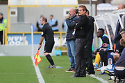 AFC Wimbledon manager Neal Ardley looking on during the EFL Sky Bet League 1 match between AFC Wimbledon and Rochdale at the Cherry Red Records Stadium, Kingston, England on 30 September 2017. Photo by Matthew Redman.