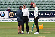 Umpires Alex Wharf and Rob Bailey inspecting the pitch and gave the ok for play due to start at 12pm after rain delayed the start during the Specsavers County Champ Div 1 match between Somerset County Cricket Club and Essex County Cricket Club at the Cooper Associates County Ground, Taunton, United Kingdom on 26 September 2019.
