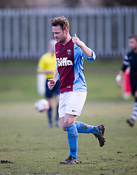 Whitehill Welfare John Halls cele scoring their goal.<br /> half time : Whitehill Welfare 1 v 1 Edusport Academy, South Challenge Cup Quarter Final played 7/3/2015 at Ferguson Park, Carnethie Street, Rosewell.