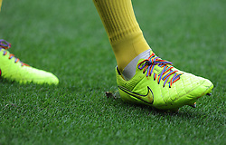 Norwich City players wear Rainbow Colour boot laces. - Photo mandatory by-line: Alex James/JMP - Mobile: 07966 386802 30/08/2014 - SPORT - FOOTBALL - Cardiff - Cardiff City stadium - Cardiff City  v Norwich City - Barclays Premier League