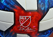 Detailed view of MLS logo on a soccer ball during an MLS soccer game between the New York City Football Club and D C United at Yankee Stadium in New York, NY, Sunday, March 10, 2019. (Bennett Cohen/image of Sport)