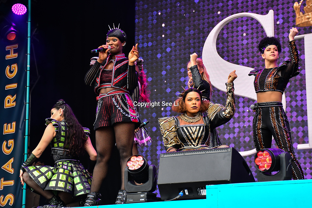 SIX performs at West End Live 2019 in Trafalgar Square, on 22 June 2019, London, UK.