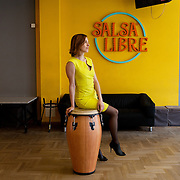 Warsaw, Poland, March 20, 2013. Ania Chagowska, dancer and owner of Salsa Libre, school of latin-american dance in Warsaw.