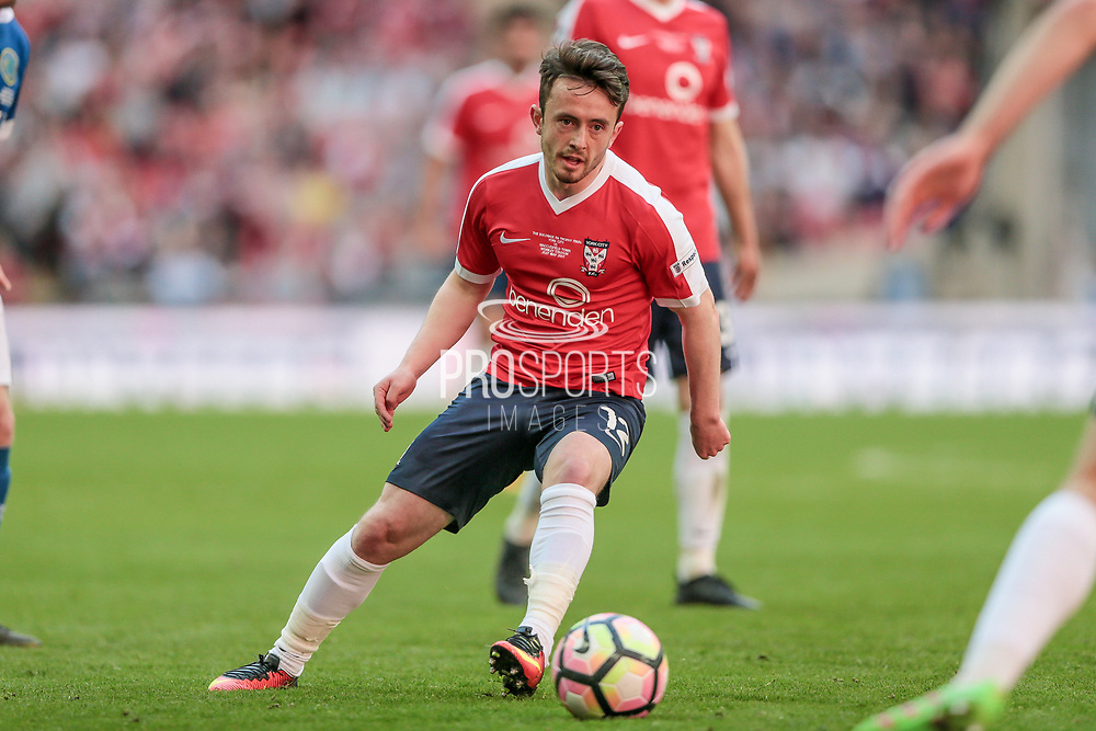 Aidan Connolly (York City) passes the ball out to the wing during the FA Trophy match between Macclesfield Town and York City at Wembley Stadium, London, England on 21 May 2017. Photo by Mark P Doherty.