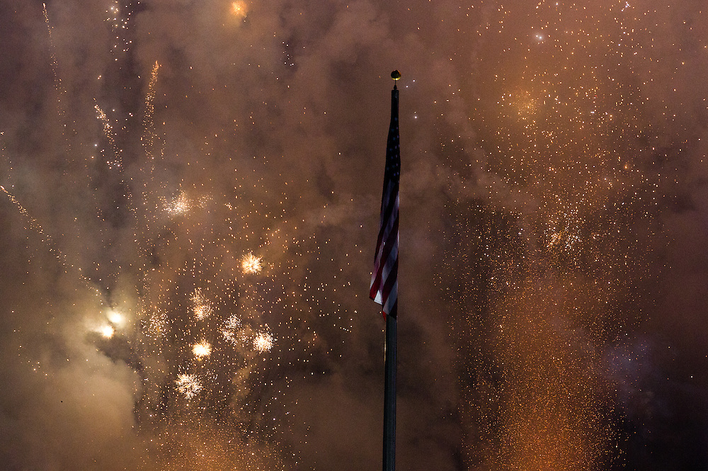Fireworks explode around the American Flag during the National Anthem before the MLS Cup at the Home Depot Center in Los Angeles, Calif., on November 20, 2011. ..©Benjamin B Morris