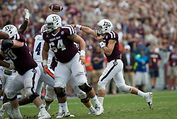 Texas A&M quarterback Nick Starkel (17) passes down field against Auburn during the third quarter of an NCAA college football game on Saturday, Nov. 4, 2017, in College Station, Texas. (AP Photo/Sam Craft)