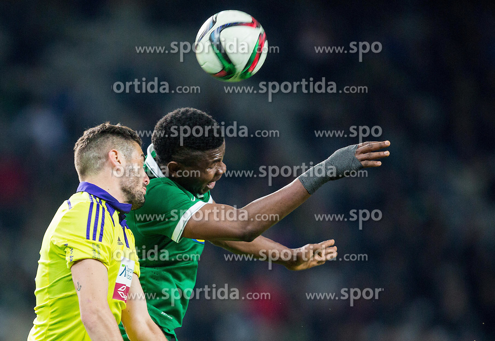 Aleksander Rajcevic #26 of Maribor vs Henty Ezekiel Isoken #55 of Olimpija during football match between NK Olimpija Ljubljana and NK Maribor in Round #26 of Prva liga Telekom Slovenije 2014/15, on April 8, 2015 in SRC Stozice, Ljubljana, Slovenia. Photo by Vid Ponikvar / Sportida