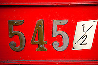 545 1/2 Fan Tan Alley Address Sign on Red Door, Victoria, British Columbia