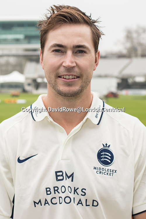 11 April 2018, London, UK. James Fuller of Middlesex County Cricket Club in the County Championship white kit .