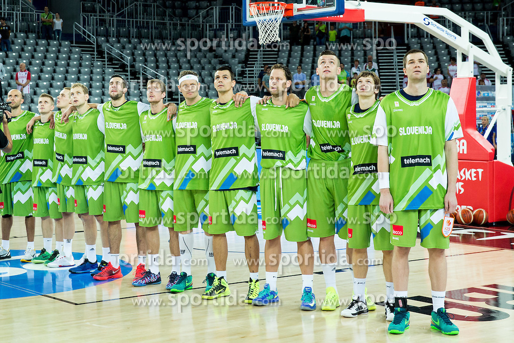 Team Slovenia listening to the national anthem during basketball match between Slovenia and Georgia at Day 2 in Group C of FIBA Europe Eurobasket 2015, on September 6, 2015, in Arena Zagreb, Croatia. Photo by Vid Ponikvar / Sportida