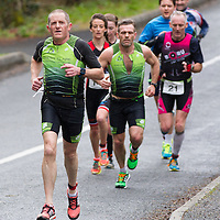 John Cahill leads the pack at the National Duathlon Championship in Lees Road, Ennis