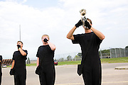 The Oregon Marching Band performs a thank you performance in Oregon, Wisocnsin on July 5, 2010.