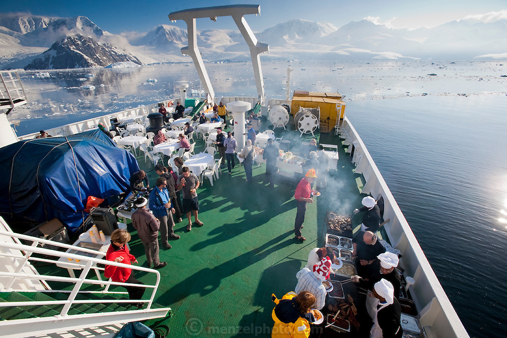 BBQ onboard for dinner, and polar plunge on the Scandinavian-built ice-breaker Akademik Sergey Vavilov, originally built for the Russian Academy of Science and still used occasionally by scientists, is now predominantly used for adventure touring in both the Arctic and the Antarctic. The ship is currently operated by a Russian crew, and staffed with employees of the adventure touring company Quark Expeditions, and carries around 100 passengers at a time. .