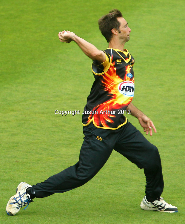 Grant Elliot field during the 2012/2013 HRV Cup Twenty20 session. Wellington Firebirds v Central Stags at the Basin Reserve, Wellington, New Zealand on Wednesday 26 December 2012. Photo: Justin Arthur / photosport.co.nz