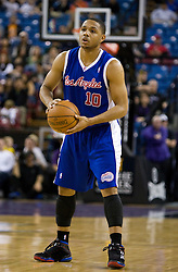 February 28, 2010; Sacramento, CA, USA;  Los Angeles Clippers guard Eric Gordon (10) during the first quarter against the Sacramento Kings at the ARCO Arena.  Sacramento defeated Los Angeles 97-92.