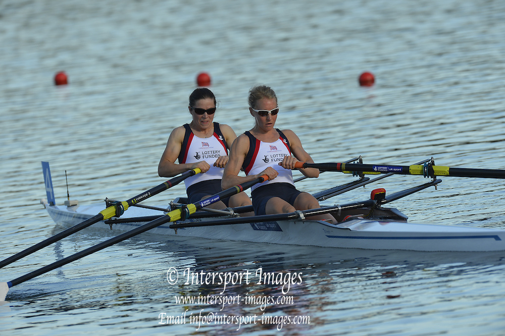 Sydney, Australia.  GBR LW2X, Bow, Kathryn TWYMAN and Imogen WALSH at the start of the Women's lightweight Single Sculls, Heat. FISA World Cup I. and the Sydney International Rowing Regatta. Sydney International Rowing Centre, Penrith Lakes, NSW.   Friday   22/03/2013 [Mandatory Credit. Peter Spurrier/Intersport Images]..