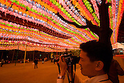 The annual Lotus Lantern Festival is held to celebrate Buddha's Birthday. Lanterns at Jogyesa temple.