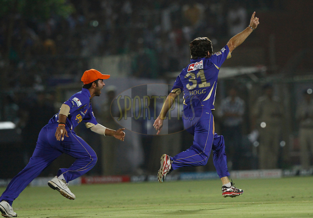 Rajasthan Royals player Brad Hodge celebrates the wicket of Royal Challengers Bangalore Chris Gayle during match 30 of the the Indian Premier League ( IPL) 2012  between The Rajasthan Royals and the Royal Challengers Bangalore held at the Sawai Mansingh Stadium in Jaipur on the 23rd April 2012..Photo by Pankaj Nangia/IPL/SPORTZPICS