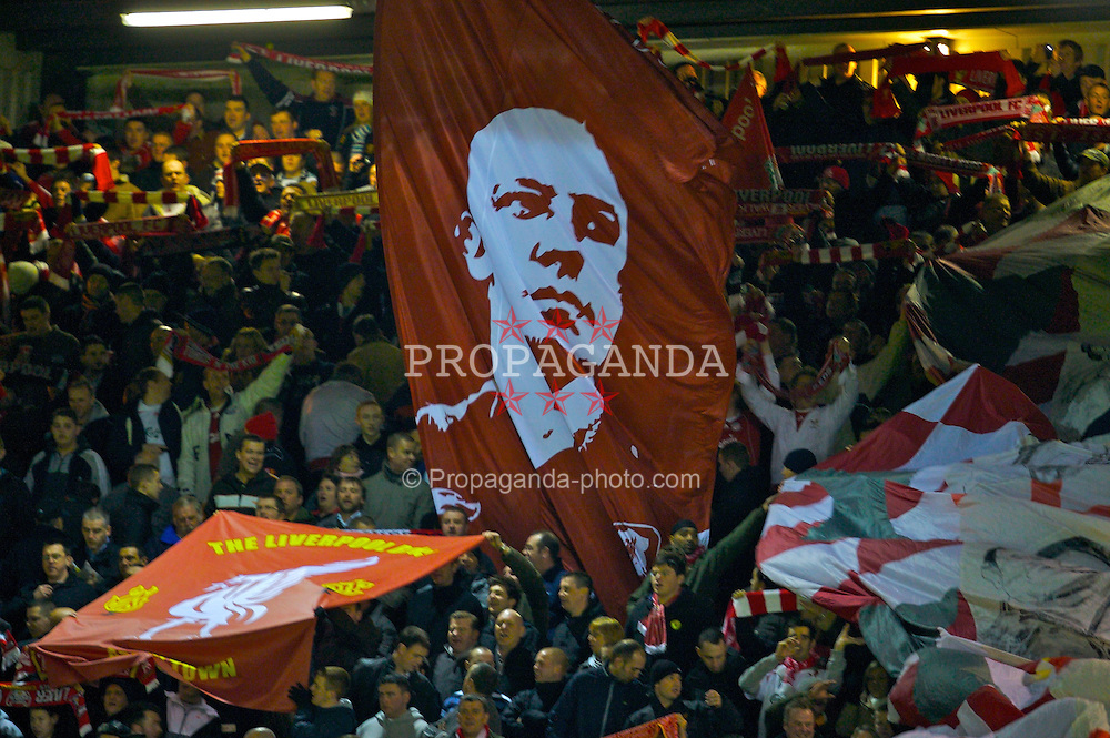 LIVERPOOL, ENGLAND - Saturday, February 2, 2008: Liverpool supporters on the Spion Kop wave a huge flag of manager Rafael Benitez in support of their manager during the Premiership match against Sunderland at Anfield. (Photo by David Rawcliffe/Propaganda)