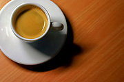 cup of espresso on a wooden table as seen from above