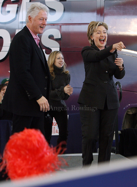 "(010408  Nashua, NH) Former Pres. Bill Clinton and Hillary Clinton and their daughter Chelsea arrive at  a ""Pick a President"" event at  GFW Aeroservices,Friday,  January 04, 2008.  Staff photo by Angela Rowlings."
