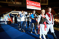 Katowice, Poland - 2017 September 01: Special Olympics Volleyball Team of Azerbaijan attend in Opening Ceremony during European Unified Volleyball Tournament 2017 at Spodek Hall on September 01, 2017 in Katowice, Poland.<br /> <br /> Adam Nurkiewicz declares that he has no rights to the image of people at the photographs of his authorship.<br /> <br /> Picture also available in RAW (NEF) or TIFF format on special request.<br /> <br /> Any editorial, commercial or promotional use requires written permission from the author of image.<br /> <br /> Image can be used in the press when the method of use and the signature does not hurt people on the picture.<br /> <br /> Mandatory credit:<br /> Photo by © Adam Nurkiewicz / Mediasport