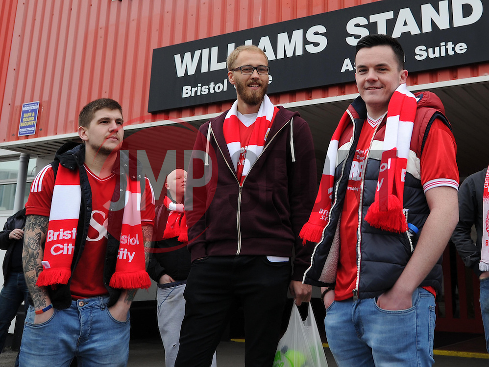 Bristol City supporters board coaches at Ashton Gate, destination Wembley - Photo mandatory by-line: Paul Knight/JMP - Mobile: 07966 386802 - 22/03/2015 - SPORT - Football - Bristol - Ashton Gate Stadium - Bristol City v Walsall - Johnstone's Paint Trophy