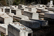 graves with Hebrew inscription in the old Jewish cemetery on mount Olives, Jerusalem over looking the old city