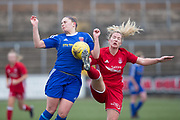 Forfar Farmington's Danni McGinley battles for the ball with Aberdeen's Kelly Forrest - Forfar Farmington v Aberdeen in the Scottish Womens' Premier League Cup round one at Station Park, Forfar<br /> <br />  - © David Young - www.davidyoungphoto.co.uk - email: davidyoungphoto@gmail.com