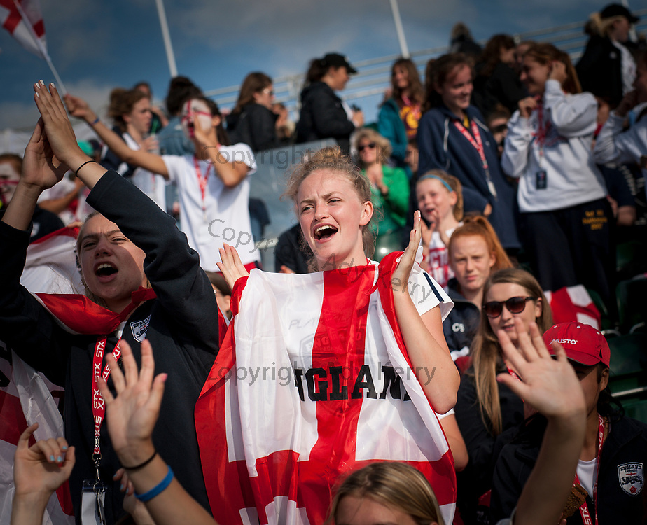 England's fans celebrate against Wales in the quarter Final at the 2017 FIL Rathbones Women's Lacrosse World Cup, at Surrey Sports Park, Guildford, Surrey, UK, 19th July 2017.