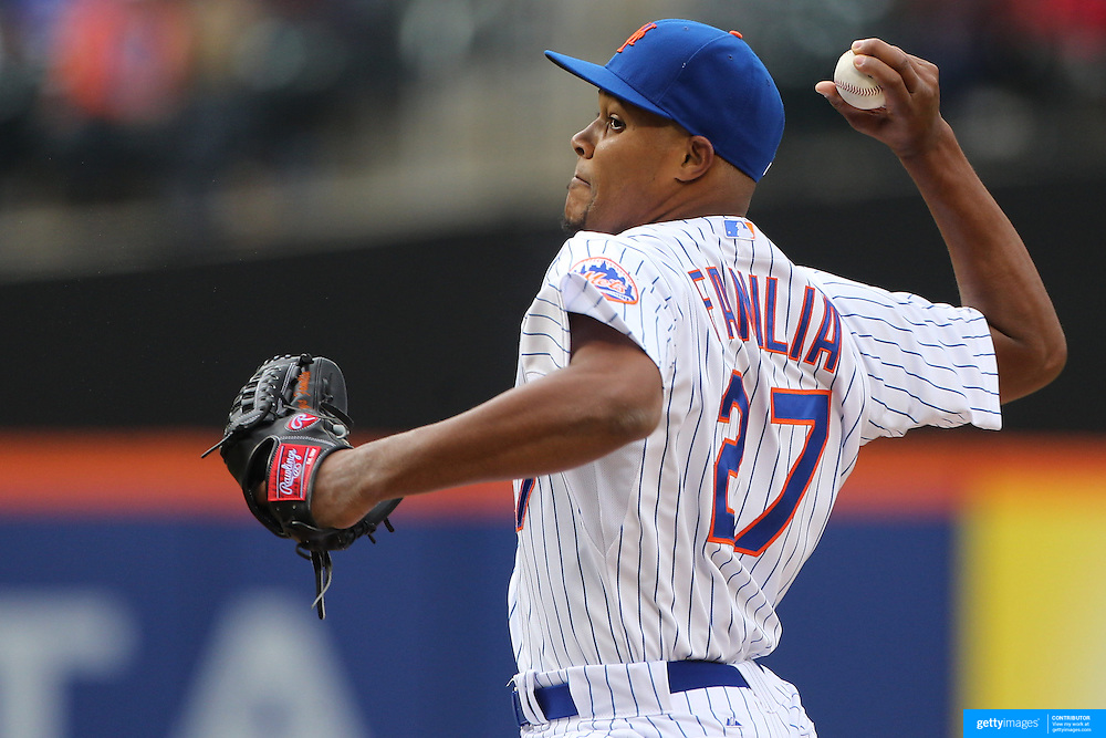 Closing pitcher Jeurys Familia, New York Mets, pitching a save during the New York Mets Vs Atlanta Braves MLB regular season baseball game at Citi Field, Queens, New York. USA. 23rd April 2015. Photo Tim Clayton