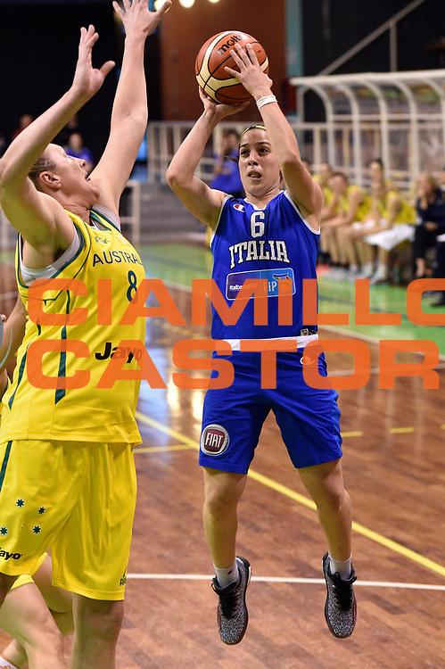 DESCRIZIONE : Pordenone Amichevole Pre Eurobasket 2015 Nazionale Italiana Femminile Senior Italia Australia Italy Australia<br /> GIOCATORE : Francesca Dotto<br /> CATEGORIA : tiro<br /> SQUADRA : Italia Italy<br /> EVENTO : Amichevole Pre Eurobasket 2015 Nazionale Italiana Femminile Senior<br /> GARA : Italia Australia Italy Australia<br /> DATA : 28/05/2015<br /> SPORT : Pallacanestro<br /> AUTORE : Agenzia Ciamillo-Castoria/GiulioCiamillo<br /> Galleria : Nazionale Italiana Femminile Senior<br /> Fotonotizia : Pordenone Amichevole Pre Eurobasket 2015 Nazionale Italiana Femminile Senior Italia Australia Italy Australia<br /> Predefinita :